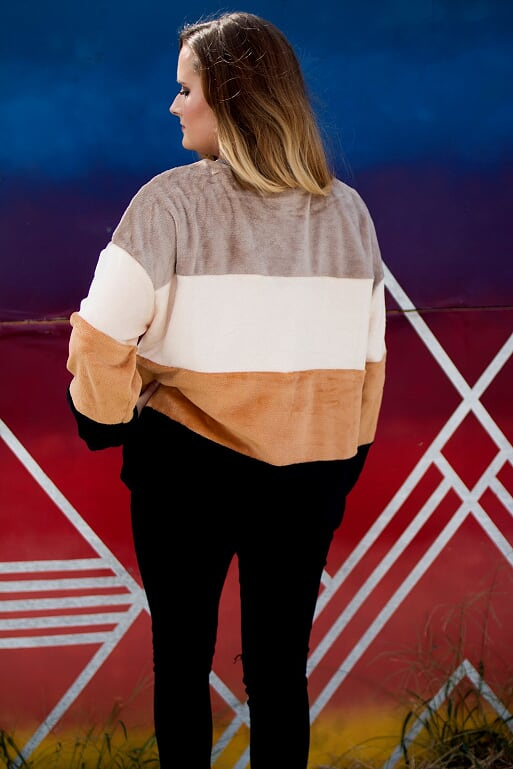 Fleece Color Blocked Sweater