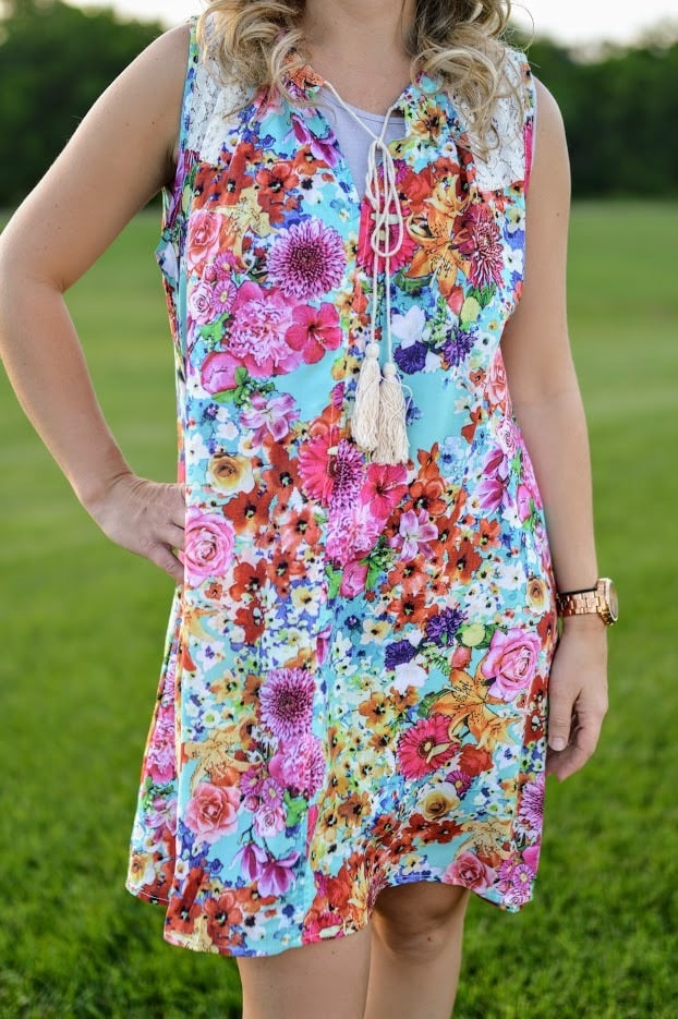 Turquoise Floral Print Dress with Lace Detail