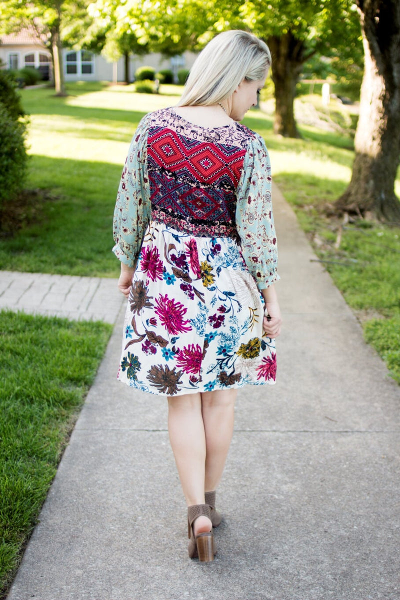 Creme Babydoll Floral Dress