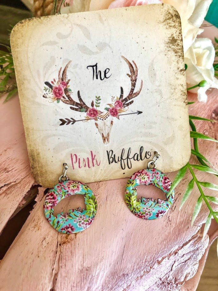 Floral Pig Earrings-Turquoise