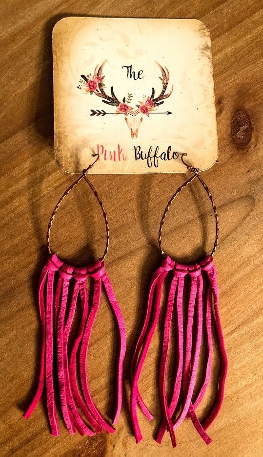 Fringe Earrings-Fuschia