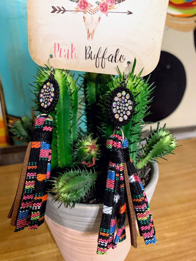 Multicolored Fringe Earrings-Black