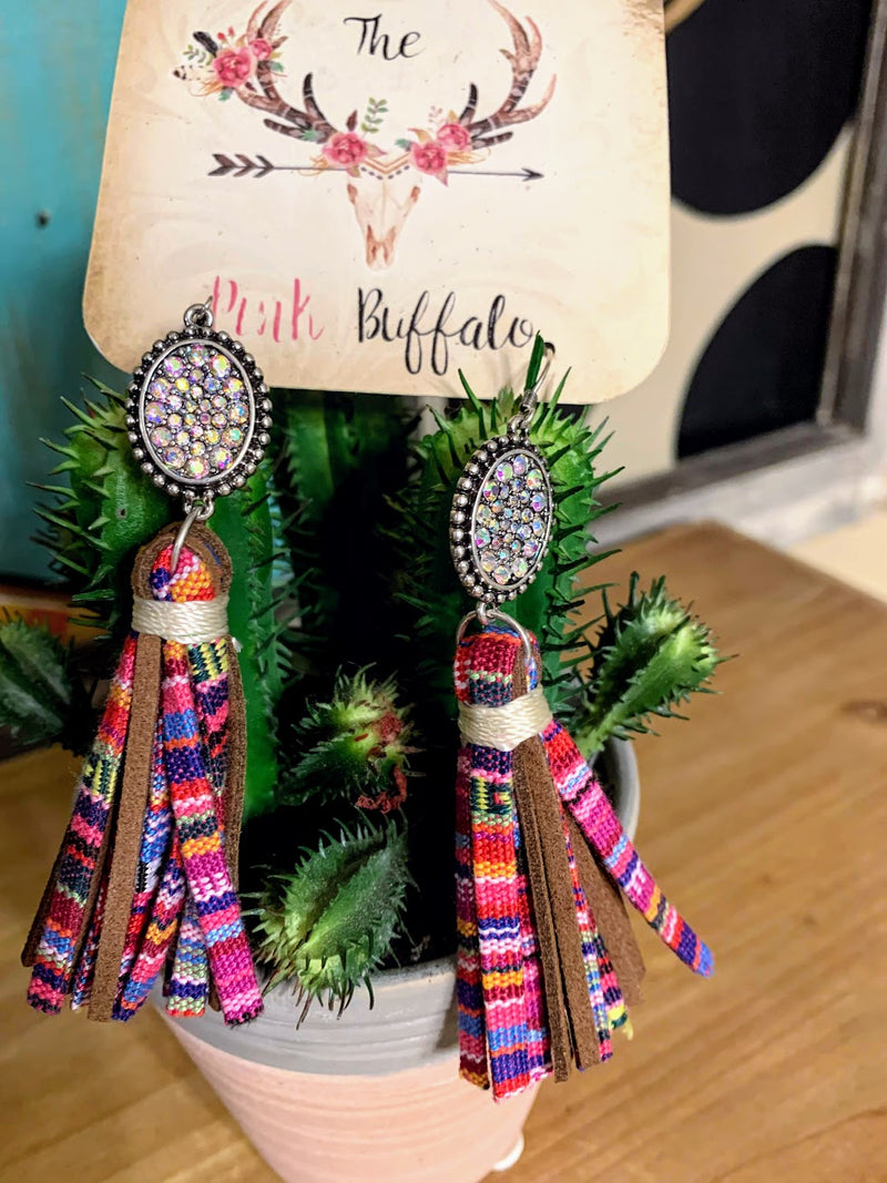 Multicolored Fringe Earrings-Pink