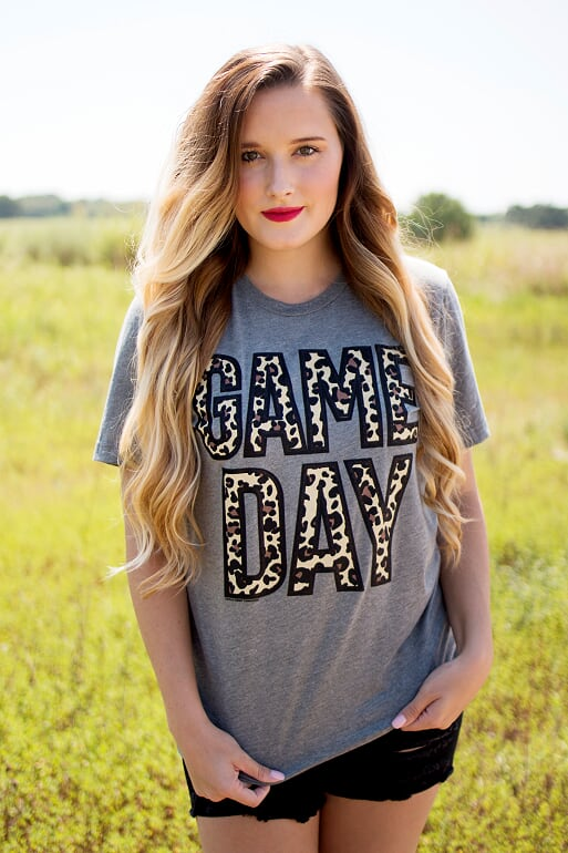 Leopard Gameday Tee-Black