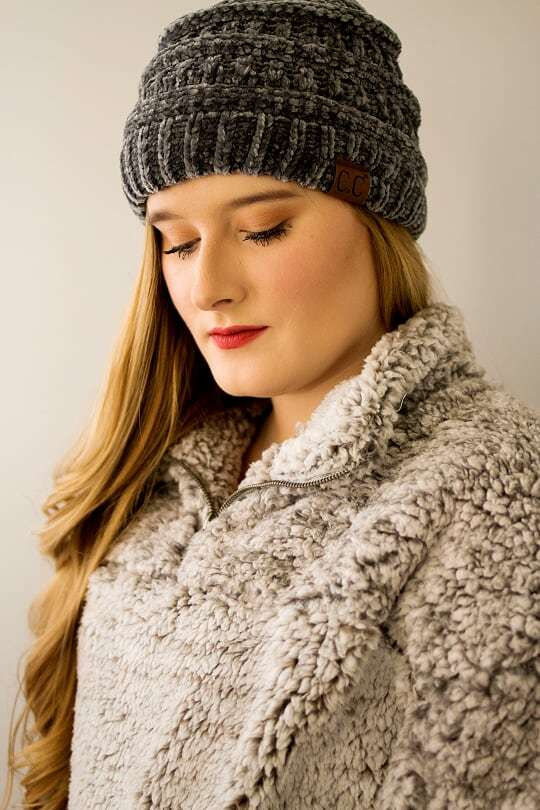 CC Velvet Beanie-Gray - The Pink Buffalo,LLC