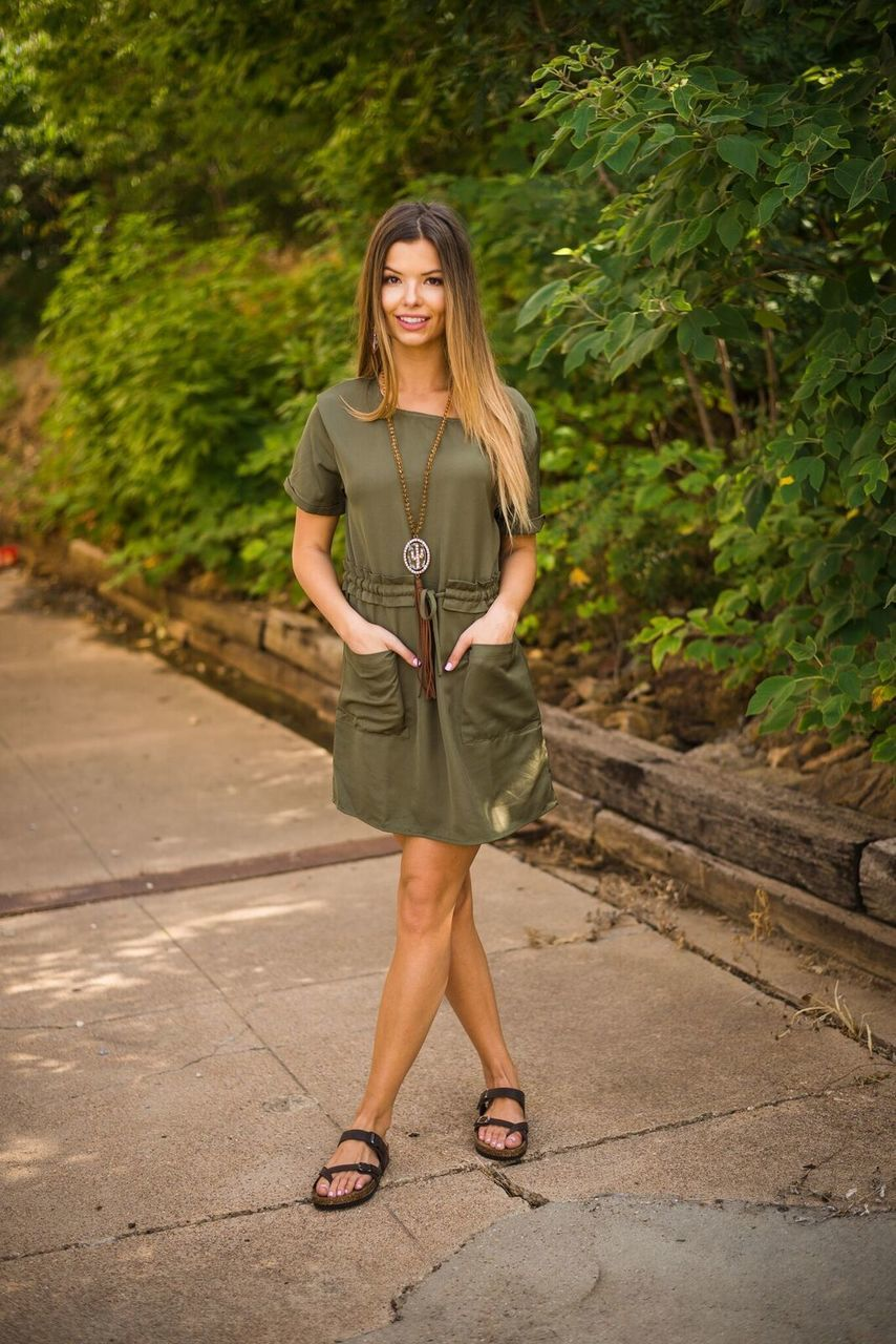 Olive Pocket Dress