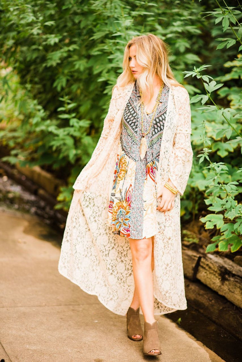 Creme Lace Duster - The Pink Buffalo,LLC