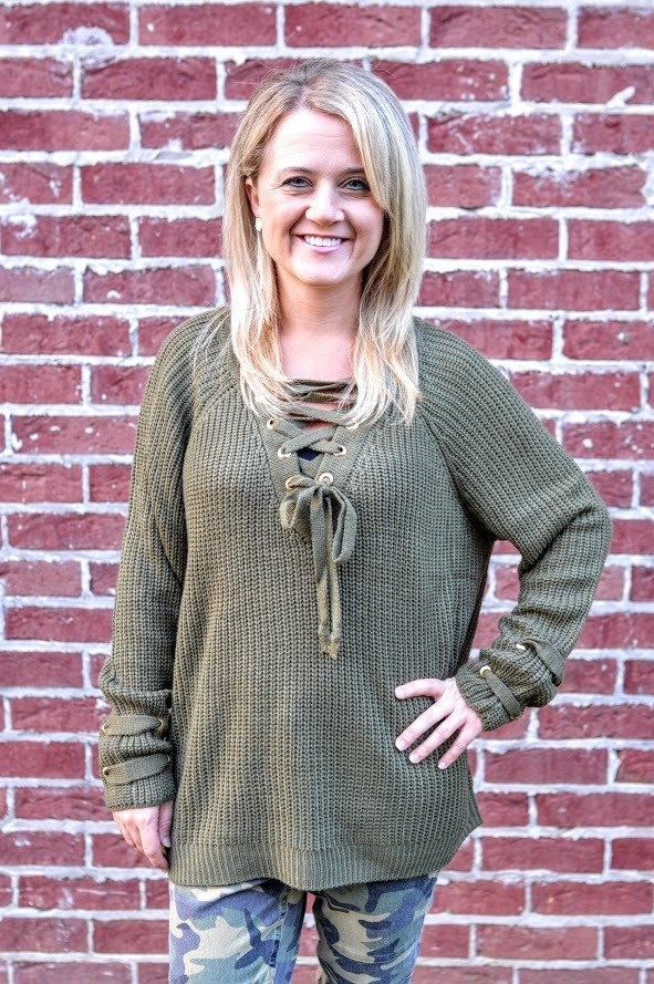Olive Green Knit Sweater