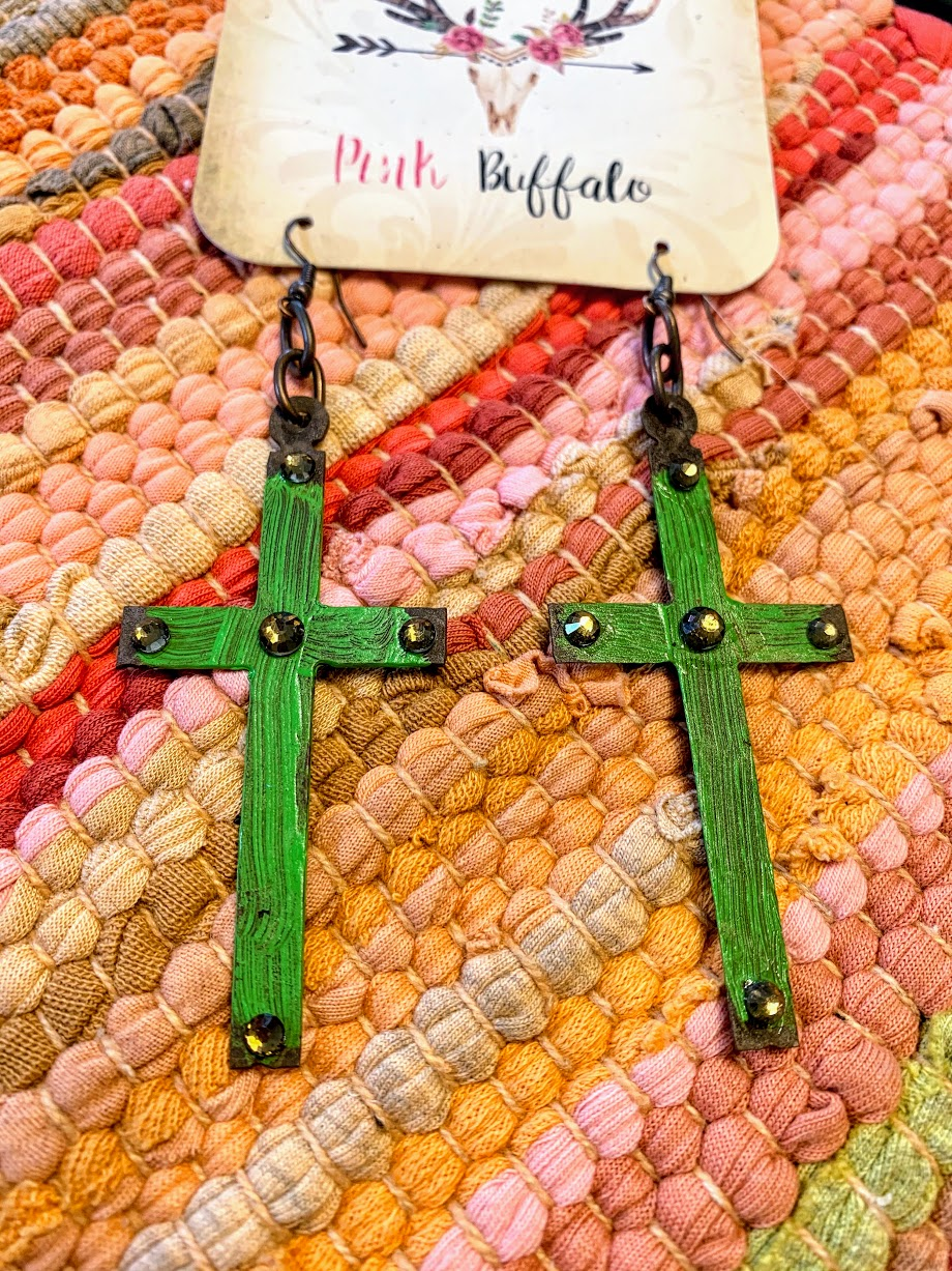 Lime Green Cross Earrings