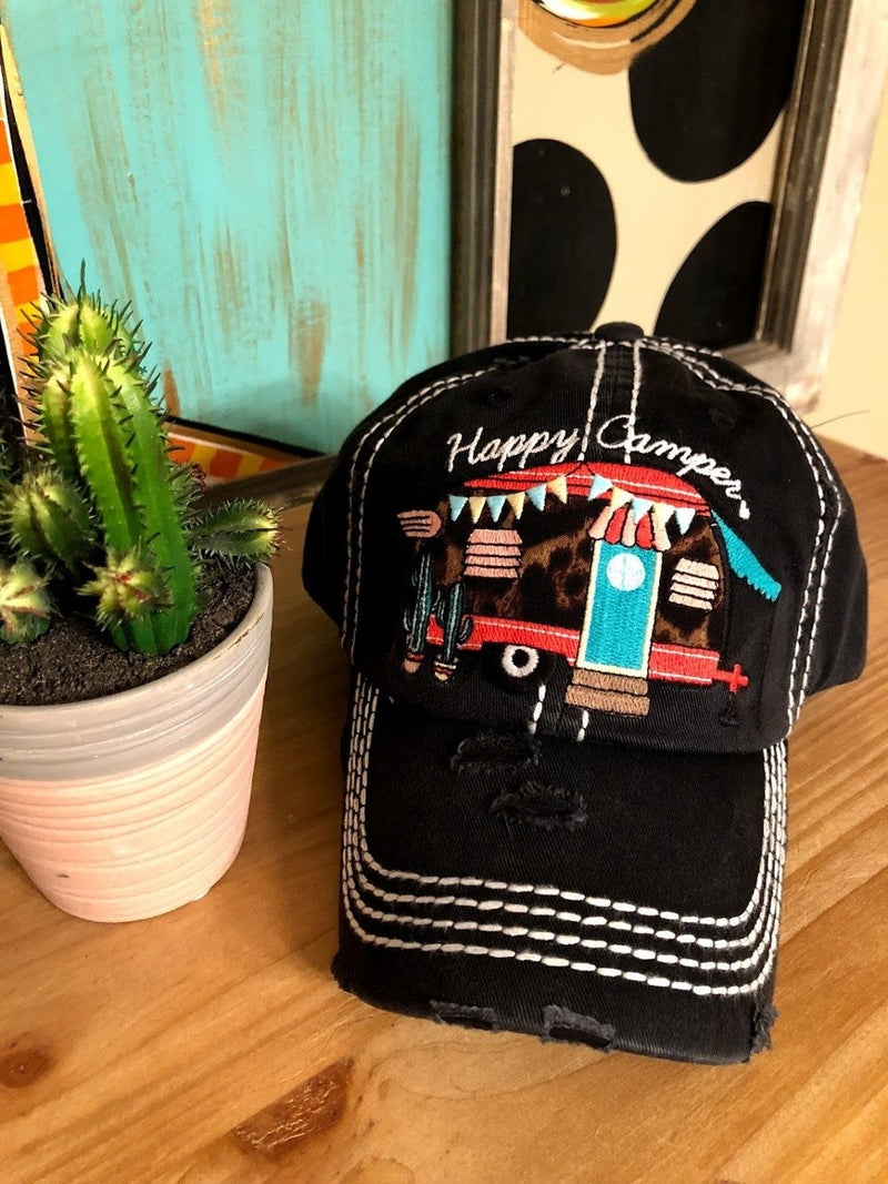 Happy Camper Cap-Black