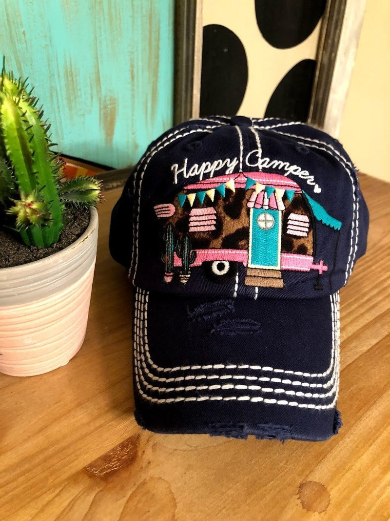 Happy Camper Cap-Navy