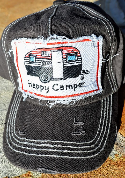 Happy Camper Hat-Gray