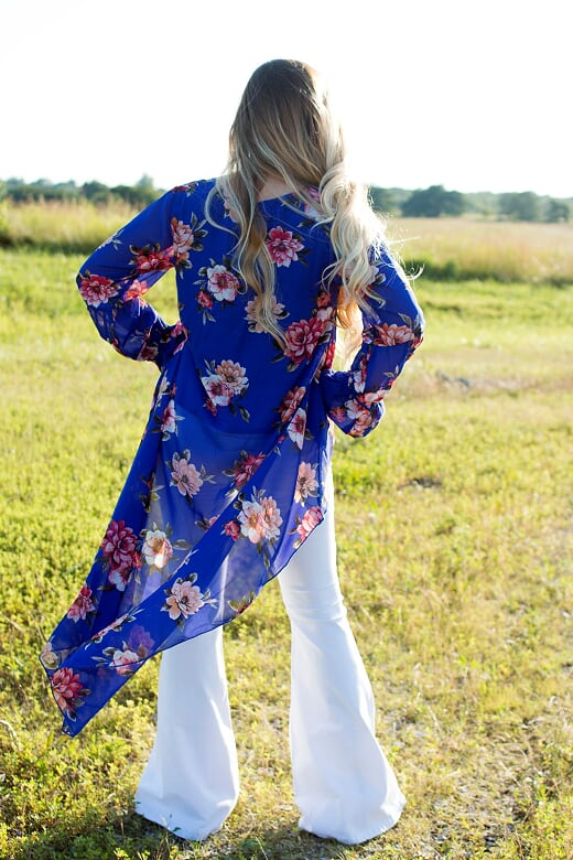 Blue Floral Print Hi-Lo Top