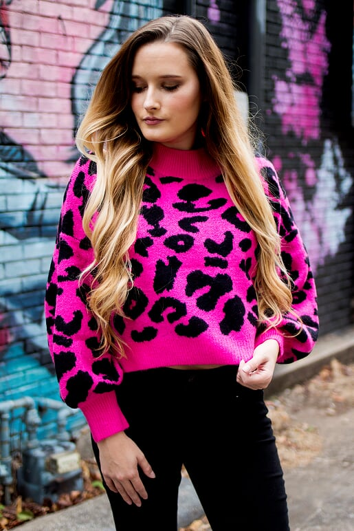 Hot Pink Cropped Leopard Sweater