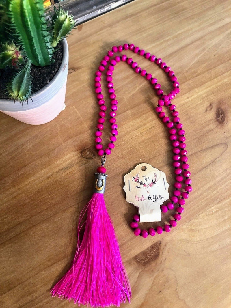 Hot Pink Horseshoe Tassel Necklace