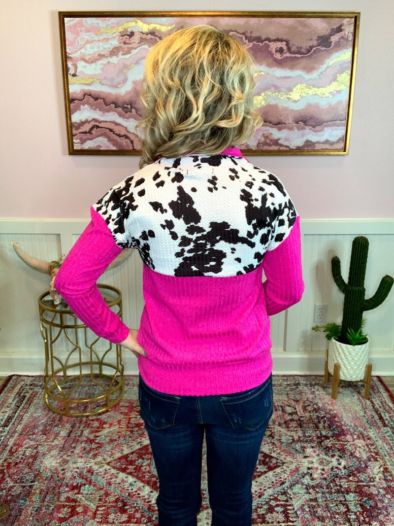 Hot Pink Cowprint Pullover