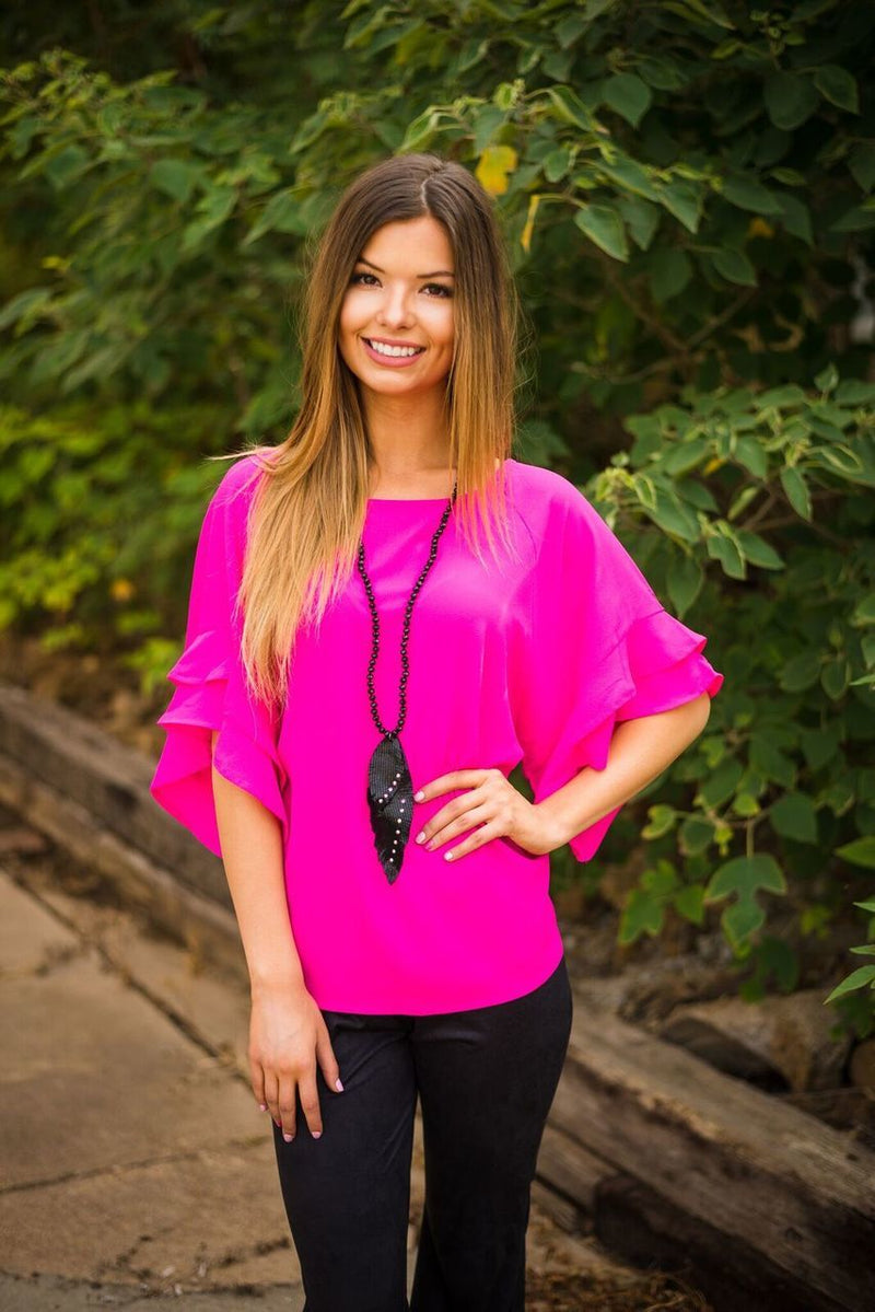 Hot Pink Ruffle Top