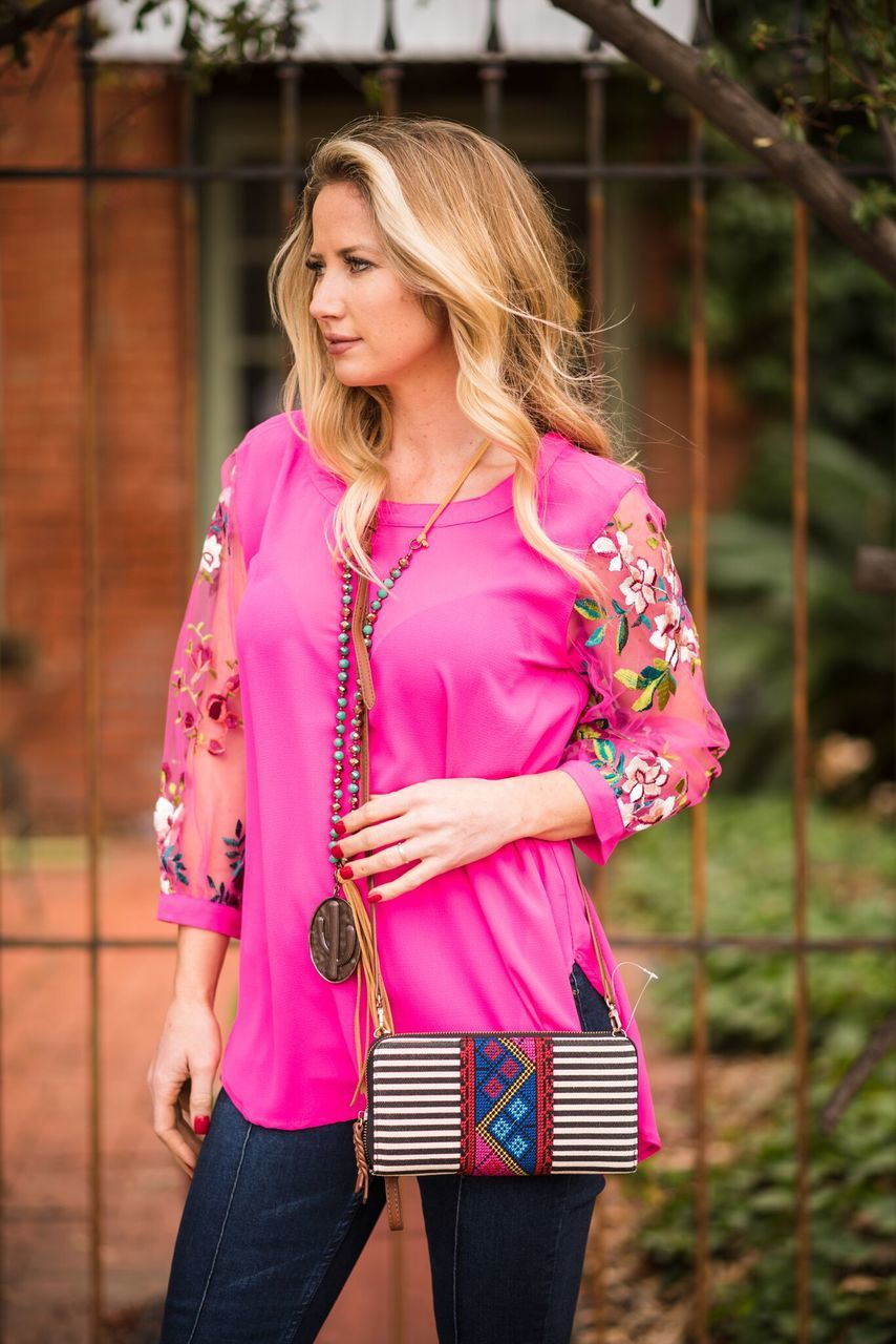 Hot Pink Embroidered Sleeves Top