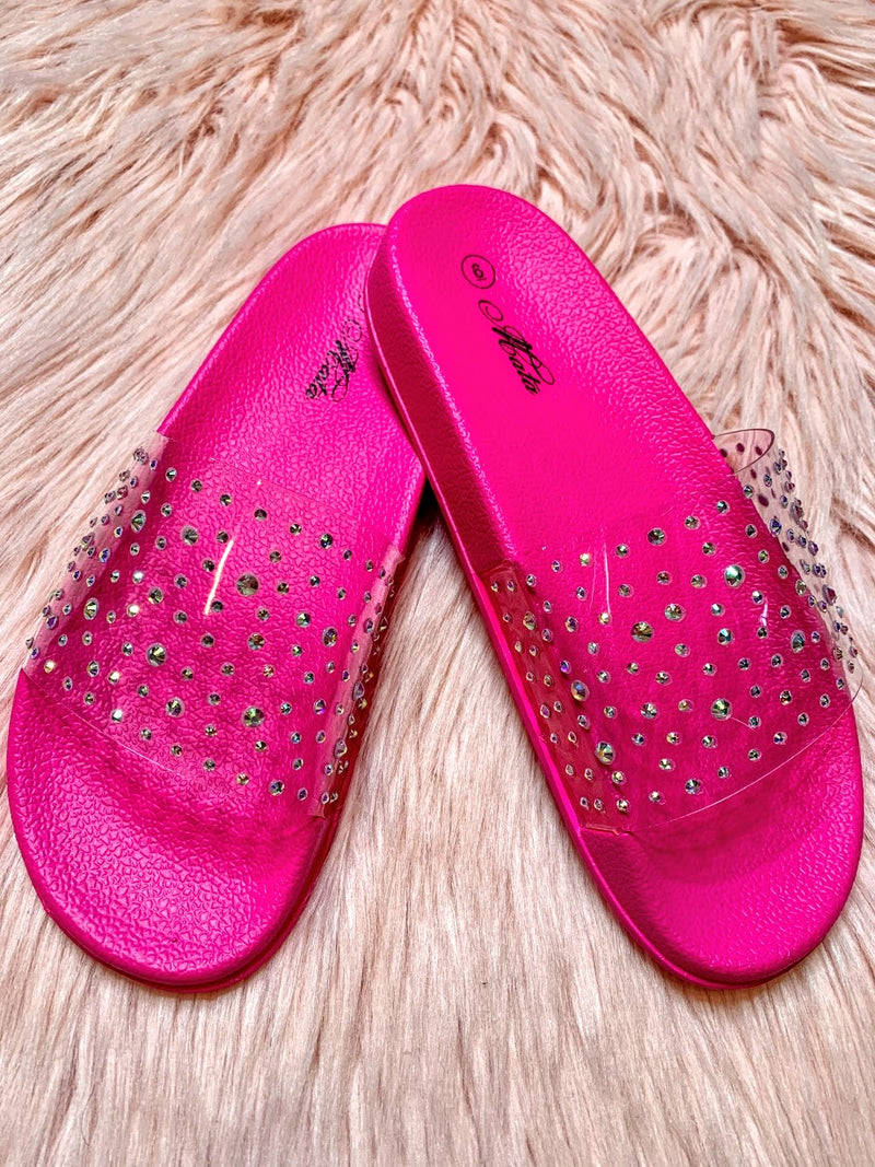 Rhinestone Jelly Sandals-Hot Pink