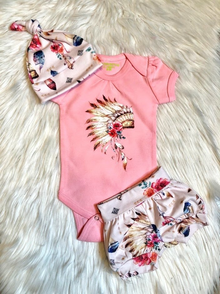 Pink Indian Headdress Onesie