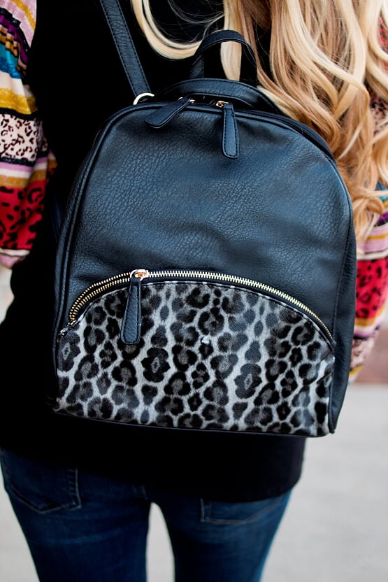 Black Leopard Backpack