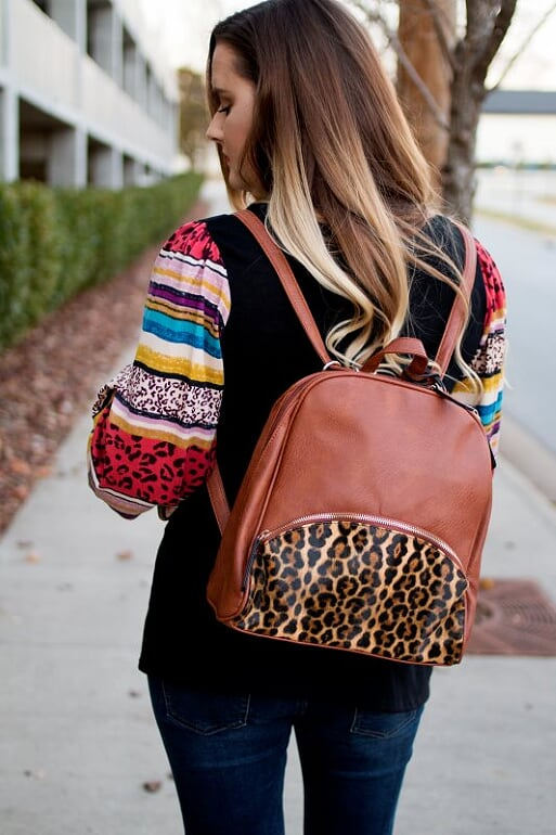 Brown Leopard Backpack
