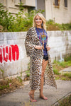 Leopard Sheer Duster-Bell Sleeve