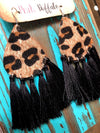 Leopard Tassel Earrings-Black