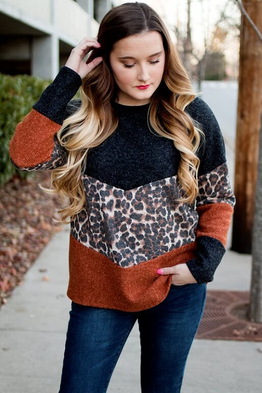 Rust Leopard Color Block Top