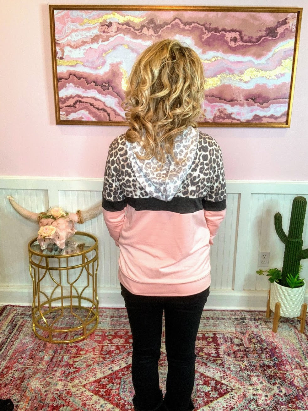 Color Blocked Leopard Hoodie-PINK