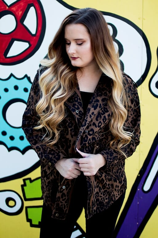 Leopard Jacket with Drawstring Waist