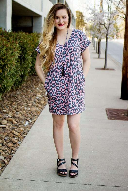 Leopard Pocket  Dress-Coral
