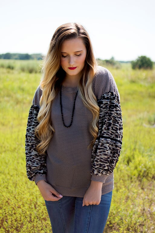 Taupe Waffle Knit Leopard Top