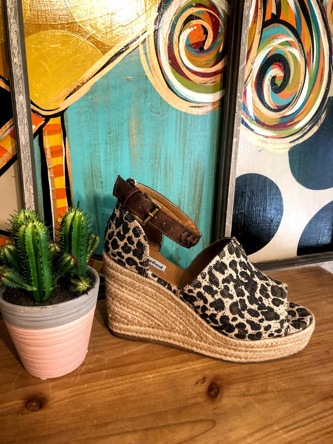 Leopard Wedges with Leather Strap