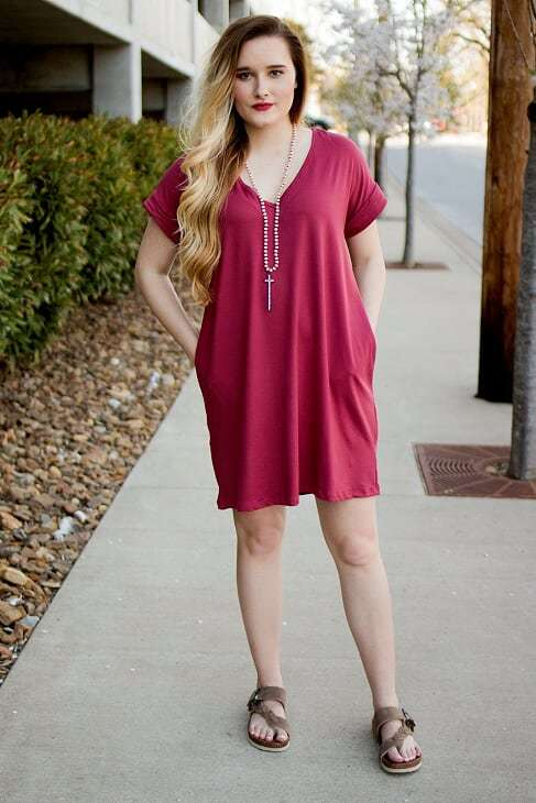 Marsala Pocket Dress