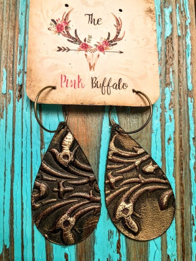 Chocolate Gold Burnout Earrings - The Pink Buffalo,LLC