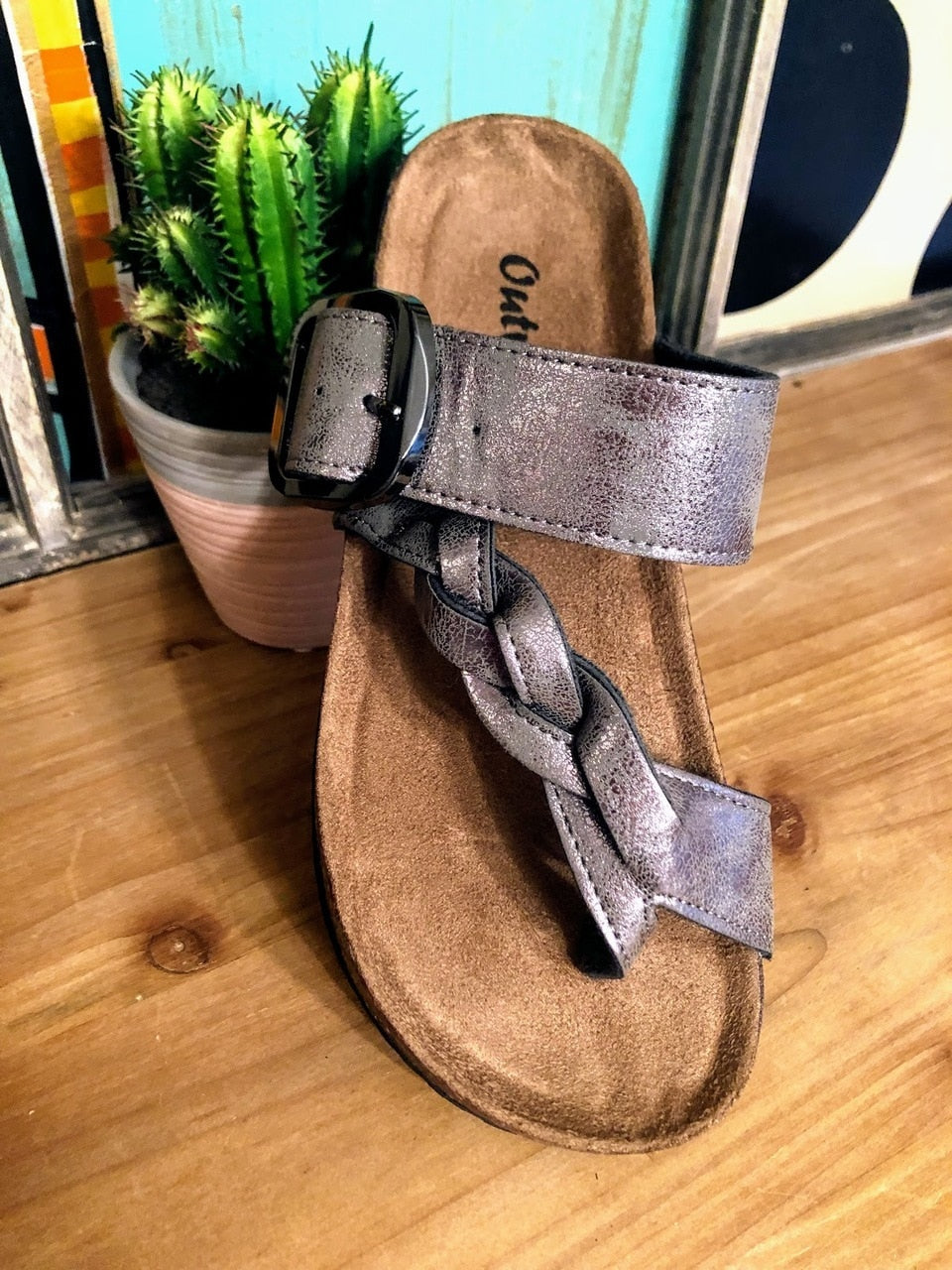 Metallic Gray Birkenstock Sandals