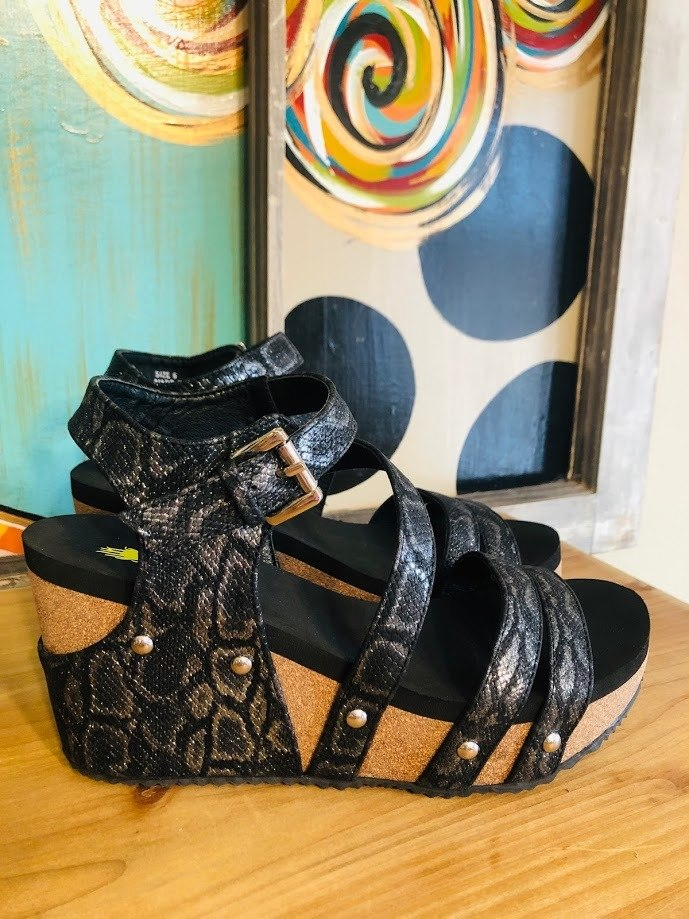Black Metallic Wedges - The Pink Buffalo,LLC