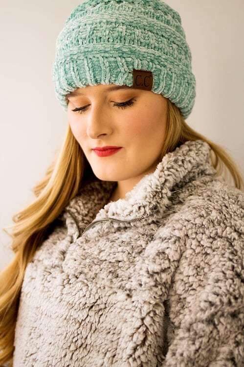 CC Velvet Beanie-Mint - The Pink Buffalo,LLC