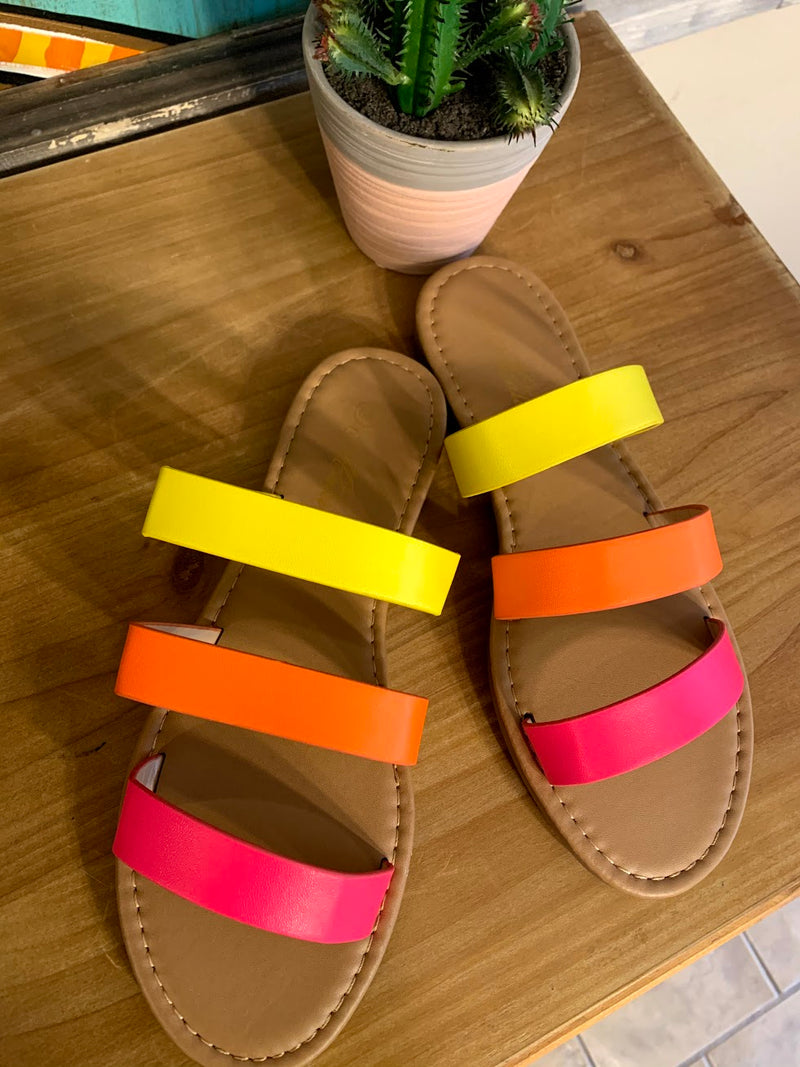 Multicolored Neon Sandals