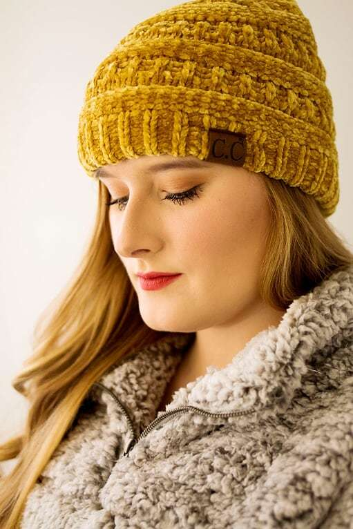 CC Velvet Beanie-Mustard - The Pink Buffalo,LLC