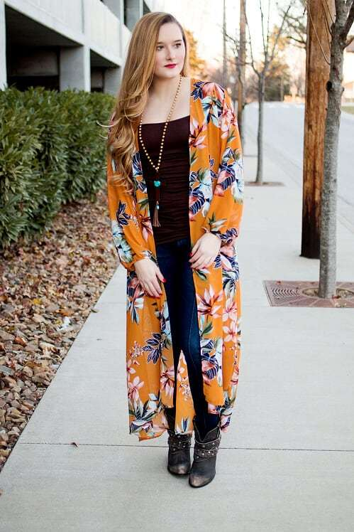 Mustard Floral Duster