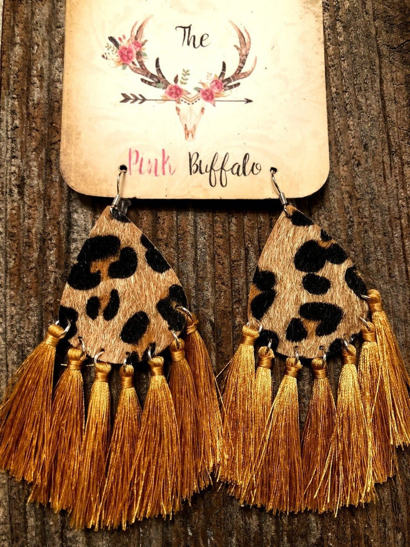 Leopard Tassel Earrings-Mustard