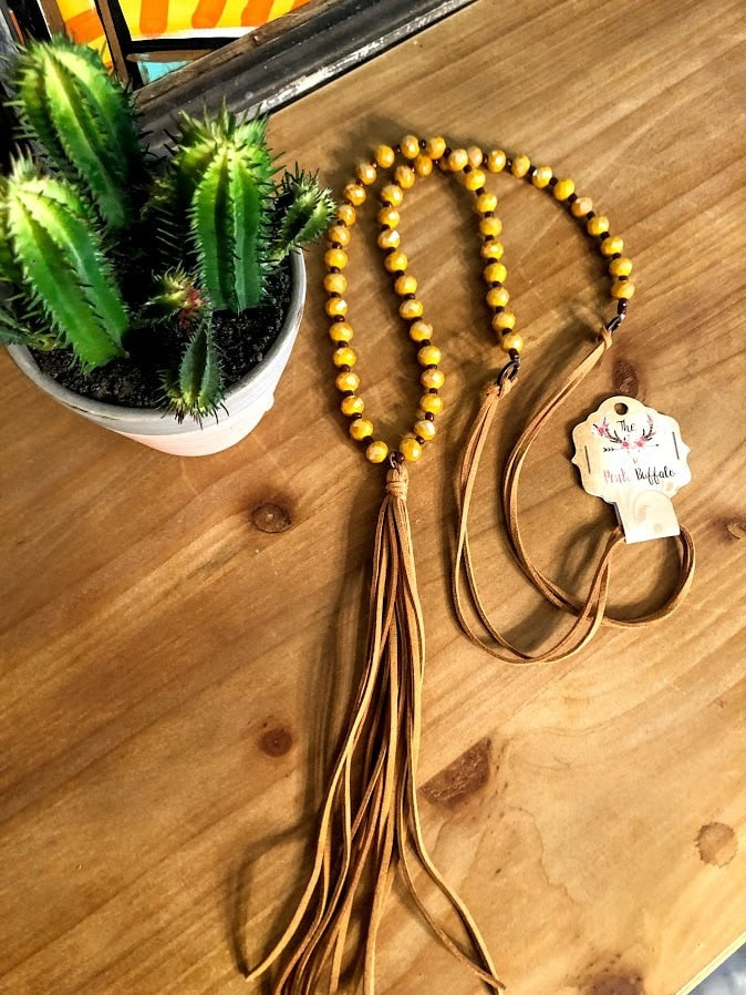 Beaded Tassel Necklace-Mustard - The Pink Buffalo,LLC
