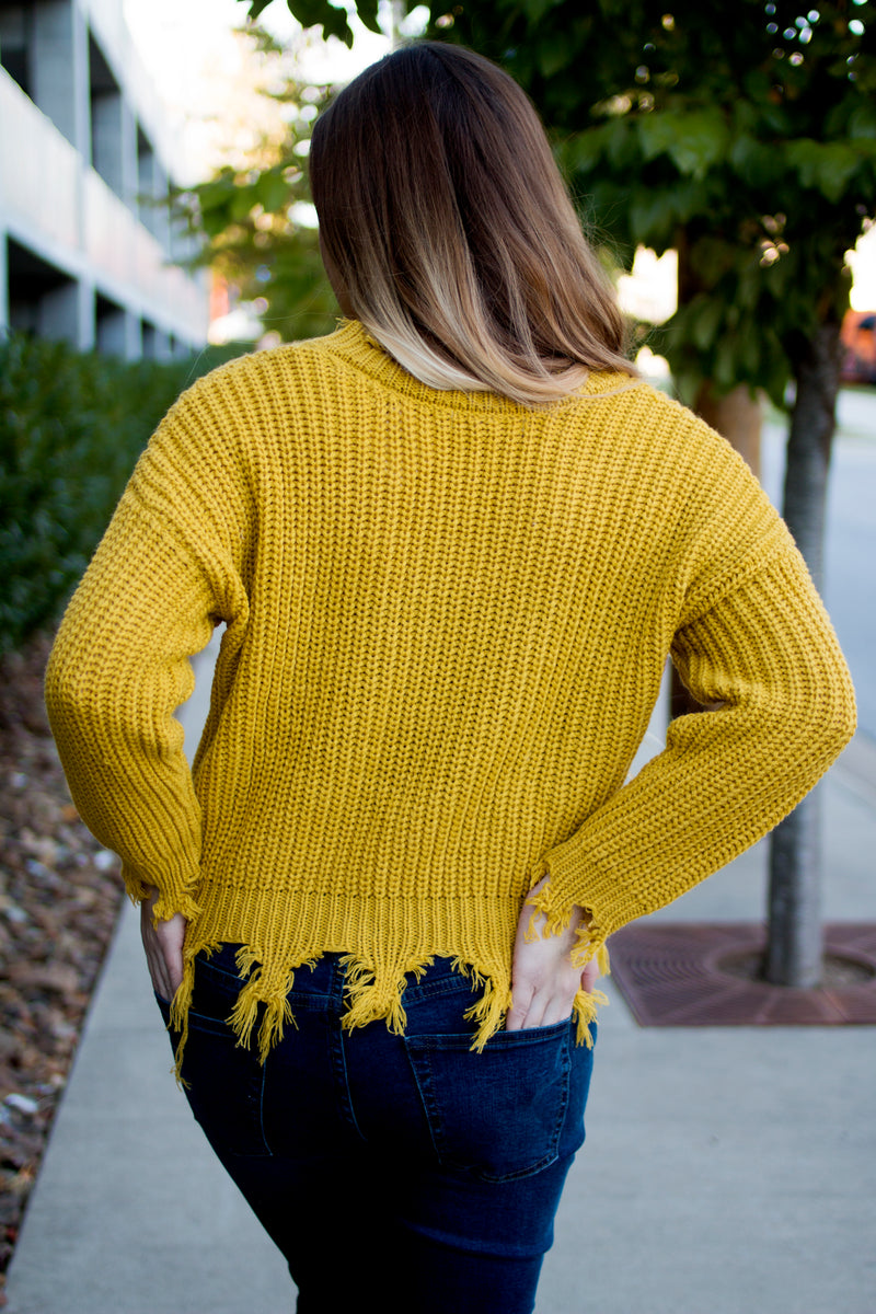 Mustard Distressed Sweater