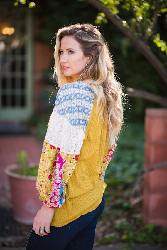 Mustard Floral Sleeve Top-PLUS