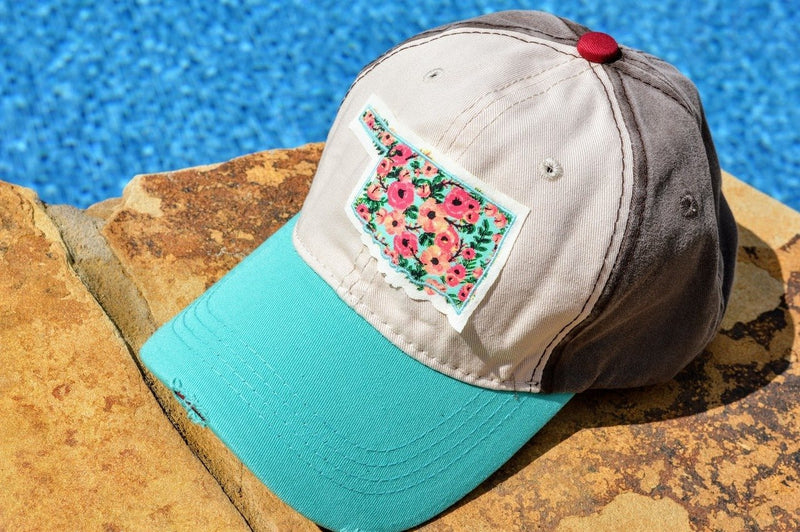 Oklahoma Hat with Rose Patch (Turquoise)