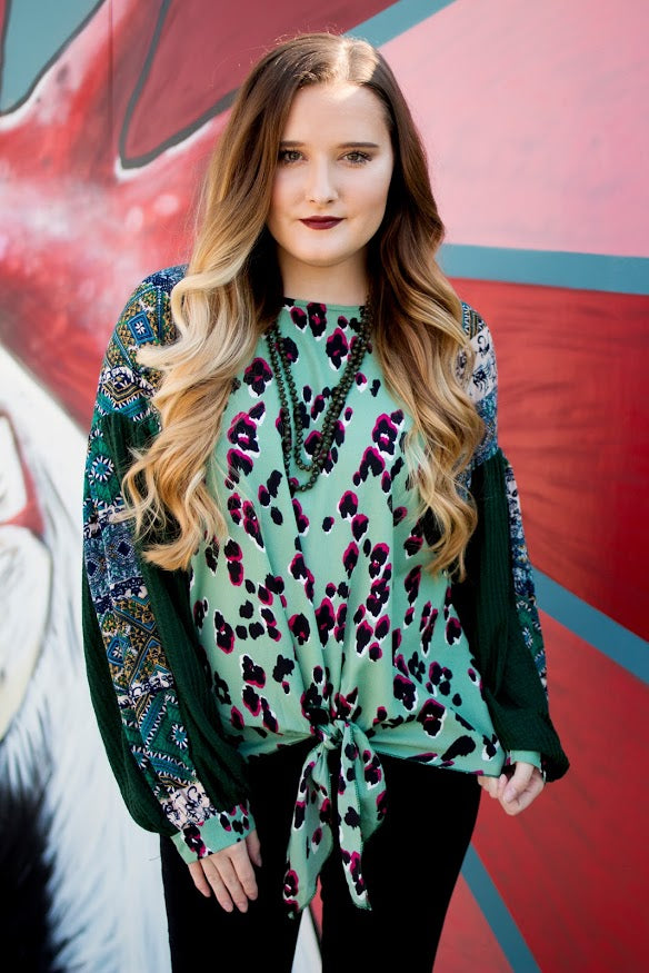 Olive Animal Print Blouse