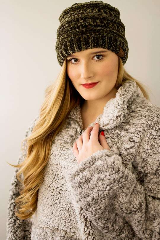 CC Velvet Beanie-Olive - The Pink Buffalo,LLC