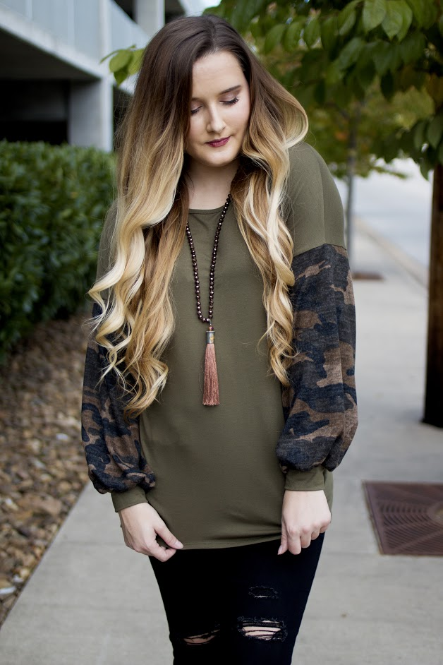 Olive Green Camo Blouse